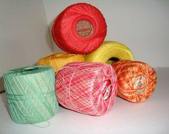 Cotton 'Crochet' Yarns 'Job Lot' Beautiful bright colour mix.