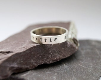 Personalised Stamped Sterling Silver Ring ~ stacking ring, stamped, statement ring, custom, initials, coordinates, personalized, wedding