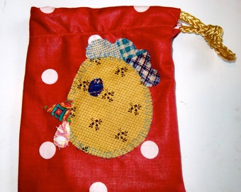 Colorful hand sewn rooster gift bag