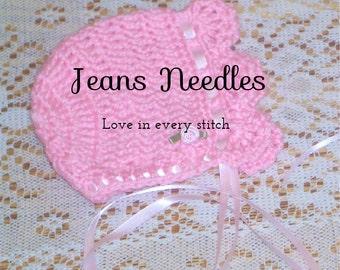 Newborn crochet baby bonnet JANICE PATTERN