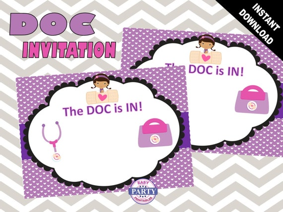 Doc Mcstuffins Birthday Invitation Template Instant Download - Birthday invitation template doc