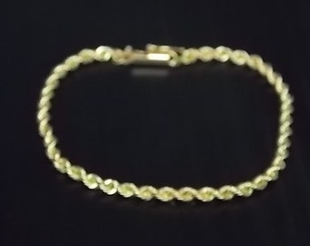 Vintage Estate 14K Yellow Gold Rope Chain Bracelet 5.4g #E817