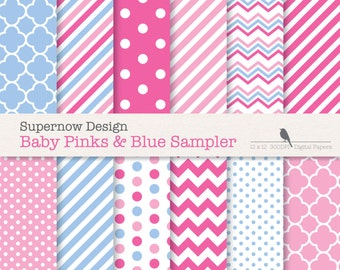 FREE COMMERICAL use 40% Off Pale Blue and Pink Digital Paper Pack. Scrapbooking Papers. Chevrons,Stripes, Polka Dots