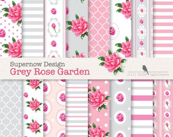 """FREE COMMERICAL use 40% Off Shabby Chic Digital Paper Pack. """"Grey Rose Garden"""" Pink & Grey Paper. Roses. Stripes,Polka Dots,Quatrefoil,"""