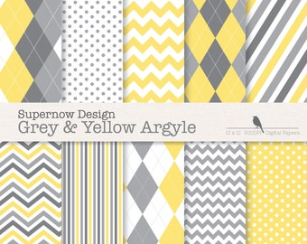 """FREE COMMERICAL use Argyle Digital Paper Pack. """"Grey & Yellow Argyle"""" Scrapbooking Papers. Golf, Chevron, Stripe, Polka Dots."""