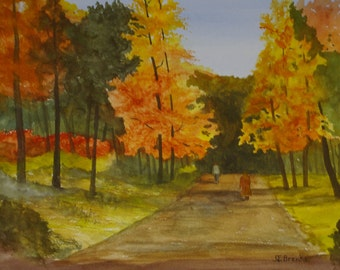 Autumn Stroll.........Original Watercolor Painting