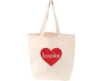 Heart Books Tote