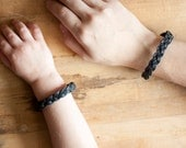 Mommy & Me Bracelets | Braided Leather | Charcoal