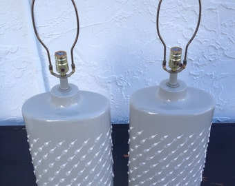 Pair of Vintage, Mid Century Modern Large Gray, Teal and White Ceramic Lamps with Rain Drop Texture