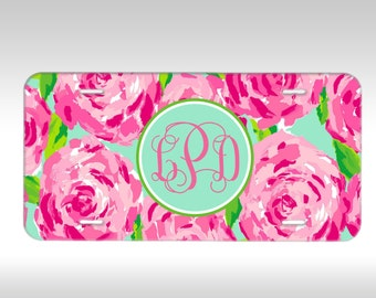 Monogram License Plate - Lilly Pulitzer Inspired Personalized Monogrammed License Plate Car Tag