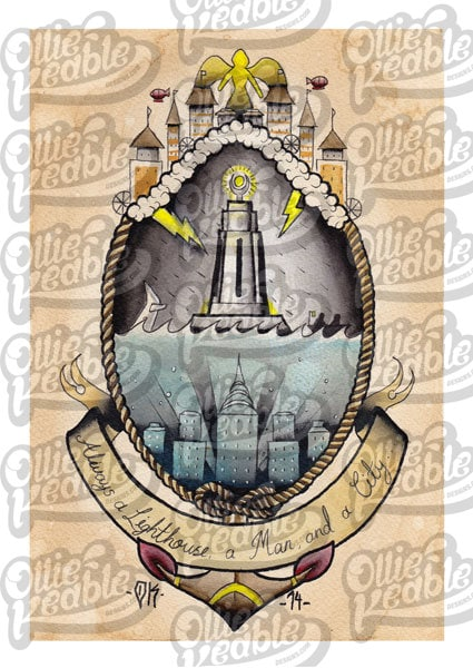 bioshock inspired tattoo design lighthouse digital copy. Black Bedroom Furniture Sets. Home Design Ideas