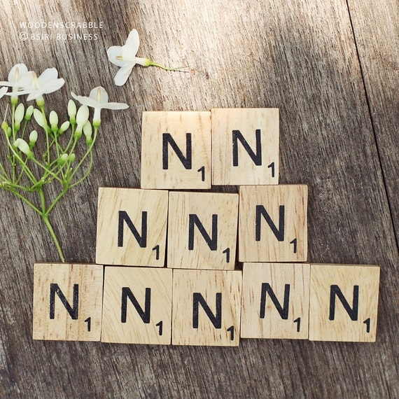 10 N Wooden Scrabble Tiles N Alphabet Black Lettering By