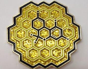 Honeycomb THC Molecule Pin