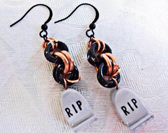 0024 - Halloween earrings; RIP; tombstone earrings; black ear wires; black and orange hoops;