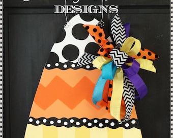 Candy Corn Door Hanger, Door Decoration, Halloween Decor, Fall Wreath