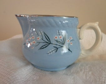 KRAFT BLUE CREAMER by Homer Laughlin, Made in the usa, 1960s, Cottage Chic Creamer, Blue China with White, Silver Edge China