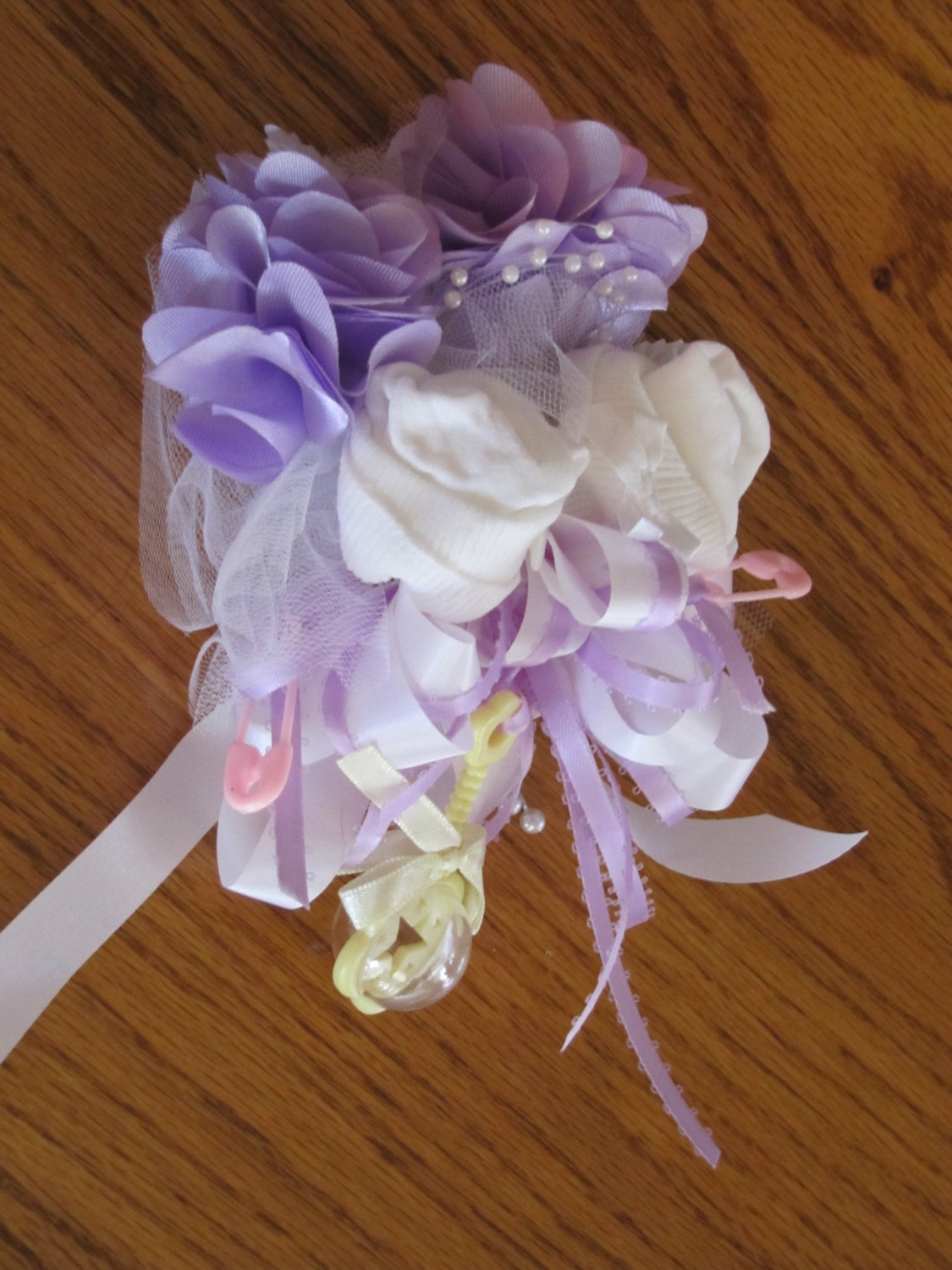 baby sock baby shower corsages handmade baby sock by 2cutebaby
