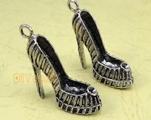 4pcs of Antique Tibetan silver Large High Heel Shoe Charms pendants 3D 42x34x14mm