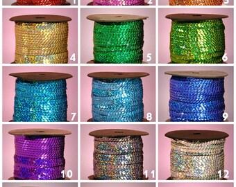 6 yards 6mm Holographic Sequins Ribbon, Sequins Trim - YOU PICK COLOR