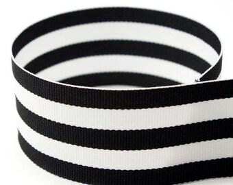 "5 yards 1.5"" Black White Stripes Woven Grosgrain Ribbon"