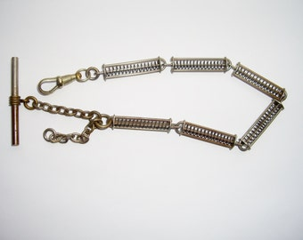 Watch Fob Chain Stretching Springs Silver Plate Antique