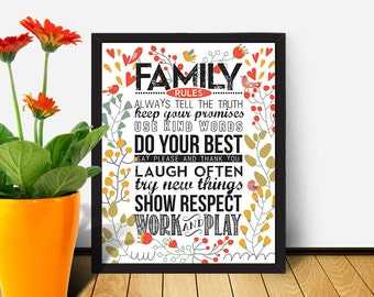 PRINTABLE HOUSE RULES / Printable Quote / Instant Download / 8 x 10 digital download