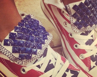 4th of July Custom Converse High Tops Shoes! Chucks Studded Stars & Stripes Freedom Edition!