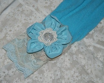 SALE: Robin's egg blue fabric flower and lace wrist cuff created from vintage materials.