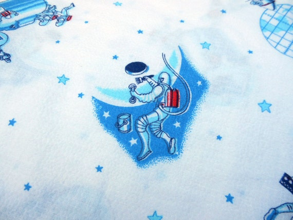 Vintage space age novelty fabric yardage by randomgatherings for Space themed fleece fabric