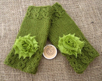Fingerless Mitts, Cable Mitts, Hand Knit Mitts, Green Fingerless Gloves, Hand Warmers, Embellished Fingerless Mitts, Shabby Chic Flowers