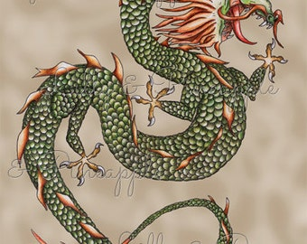 LONGEVITY -Dragon Print by MARY SMITH