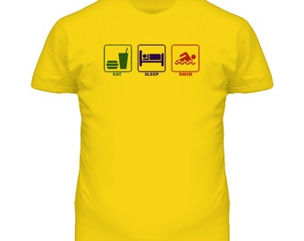 Eat Sleep Swim Austrailia Kiwi T Shirt