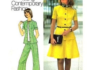 Simplicity 6791 Dishy Two-Piece Dress or Top & Pants 1974 / SZ10 UNCUT