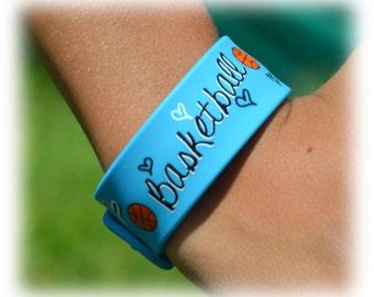 Girls Basketball Team Gift - Basketball Bracelet - Blue Slap Band w/Ruler - Basketball Mom - Basketball Player - Basketball Gifts