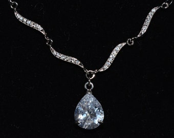 Cubic Zirconia Wedding Necklace, Teardrop Cubic Zirconia Wedding Necklace