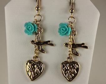 Goldtone heart,gold bird w/ turquoise flower,  E 243