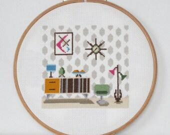 Retro Livingroom Cross Stitch Pattern-midcentury furniture, Atomic Age, egg chair, PDF, instant download