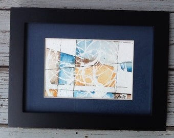 """Original watercolor painting, matted 5x7 unframed, hand-painted and signed by artist.  """"Untitled Abstract"""""""