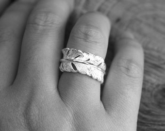 Sterling Silver Angel Feather Ring Adjustable U.K. Size L-R U.S. Size 6-9 Everyday Statement Ring Fantasy Gift Comes with Box