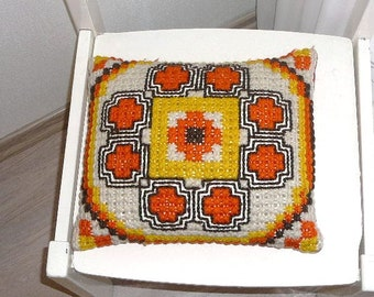 Scandinavian vintage Embroidered Pillow Cushion Throw Orange Yellow Brown Decorative Pillow for Sofa Handmade Pillow Swedish @69