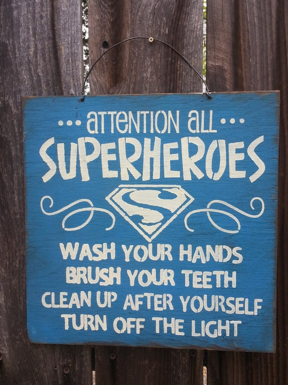 Attention All Superheroes, boys sign, kids decor, bathroom sign, kids bathroom decor