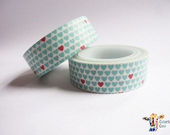 Mint and pink hearts washi tape