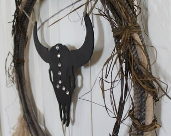 Western Rope and Barbed Wire Wreath.  Western cow skull and rope wreath.  Rustic raffia, bling, cow, rodeo rope decor.