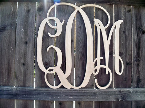 24 inch Unfinished Vine Monogram - Wood Letters- Wedding Decor- Nursery Decoration
