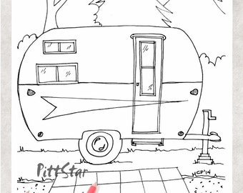 Amazing  Vehicles Coloring Pages  RV Campers  RV And Truck Coloring Picture
