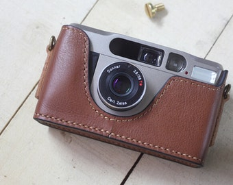 For Contax T2 Case, T2 Half Leather Case, Handmade Simple Leather Camera Case, T2 Camera Leather Case