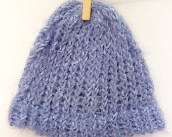 Baby, Fluffy, Baby Blue Knitted Hat