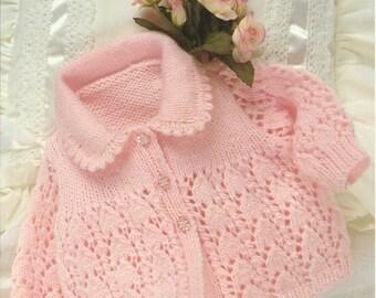 "PDF Emu Knitting Pattern #8759, 8Ply / DK, Sz17-19"" Lace Jacket Cardigans"