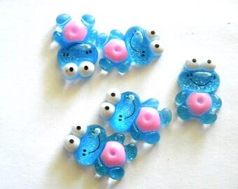 5 Blue Glitter Frog Resin Flatbacks - Resin Cabochons