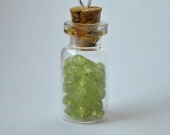 Small Glass Jar Pendant Charm With Olivine (Peridot) Gemstones
